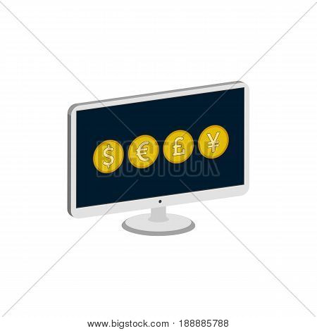 Display With Currency Signs, Forex, Currency Stock Market Exchange Concept Symbol. Flat Isometric Ic