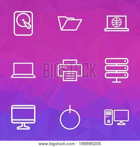 Hardware Outline Icons Set. Collection Of Power, Web, File And Other Elements. Also Includes Symbols Such As PC, Start, Connect.