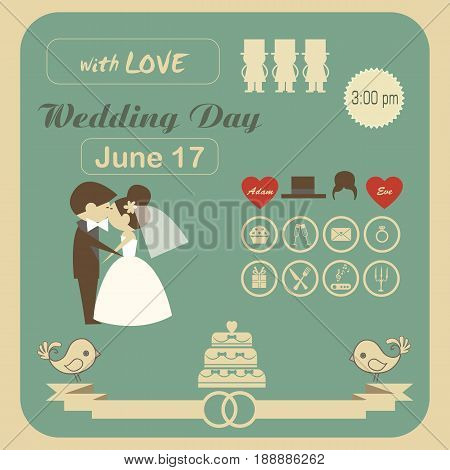 wedding invitation card template vector.Photo of the person with love and married.