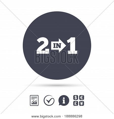 Two in one suite sign icon. 2 in 1 symbol with arrow. Report document, information and check tick icons. Currency exchange. Vector