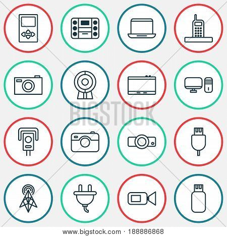 Gadget Icons Set. Collection Of Personal Computer, Call, Security Camera And Other Elements. Also Includes Symbols Such As Web, Gadget, Presentation.