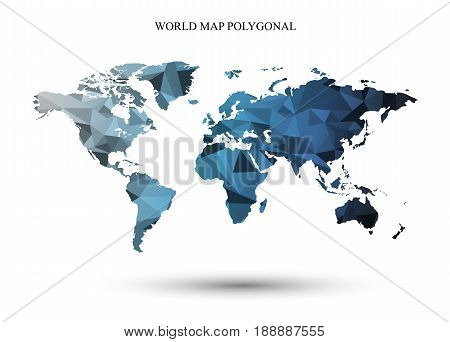 Polygonal World Map.Abstract background map.The map consists of the geometric.
