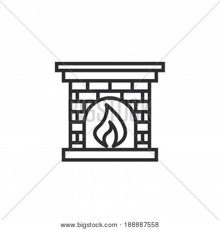 Hearth, Fireplace Line Icon, Outline Vector Sign, Linear Pictogram Isolated On White. Logo Illustrat