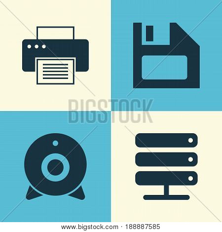 Device Icons Set. Collection Of Database, Diskette, Printing Machine And Other Elements. Also Includes Symbols Such As Server, Floppy, Broadcast.