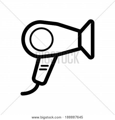 Hair dryer vector icon. Black hotel room hair dryer illustration on white background. Outline linear hair dressing icon. eps 10