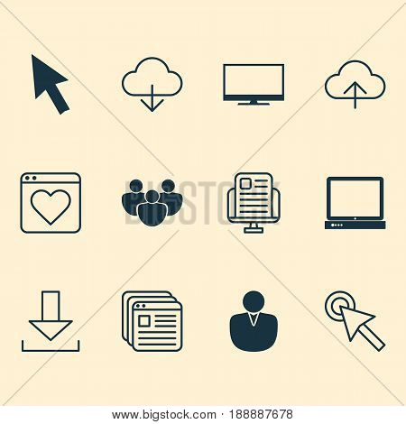 Internet Icons Set. Collection Of Data Synchronize, Followed Website, Display And Other Elements. Also Includes Symbols Such As Login, Website, Desktop.