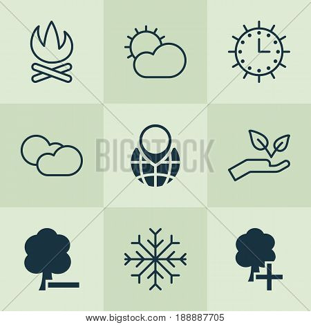 Ecology Icons Set. Collection Of Insert Woods, Pin Earth, Delete Woods And Other Elements. Also Includes Symbols Such As Nature, Delete, Tree.