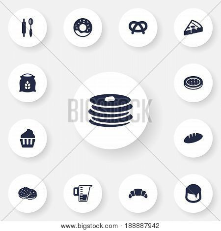 Set Of 13 Cooking Icons Set.Collection Of Crepe, Cake, Shortcake And Other Elements.