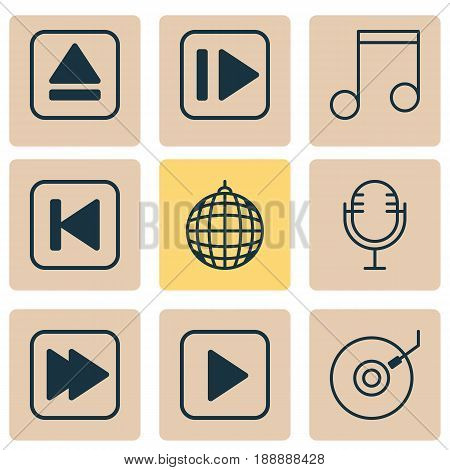 Multimedia Icons Set. Collection Of Mike, Following Music, Gramophone And Other Elements. Also Includes Symbols Such As Backward, Melody, Party.