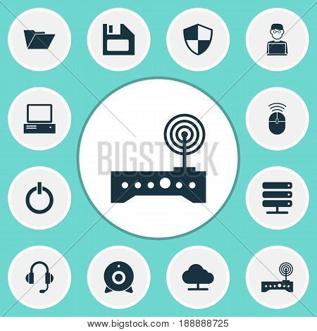 Digital Icons Set. Collection Of Programmer, Router, Earphone And Other Elements. Also Includes Symbols Such As Programmer, Control, Power.