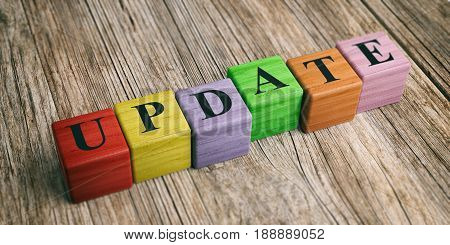 Word Update On Wooden Blocks. 3D Illustration