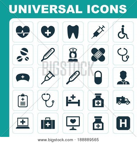 Medicine Icons Set. Collection Of Nanny, Stand, Heal Elements. Also Includes Symbols Such As Pill, Healer, Handicapped.