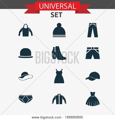 Clothes Icons Set. Collection Of Female Winter Shoes, Cardigan, Sweatshirt And Other Elements. Also Includes Symbols Such As Sweatshirt, Ski, Trunks.
