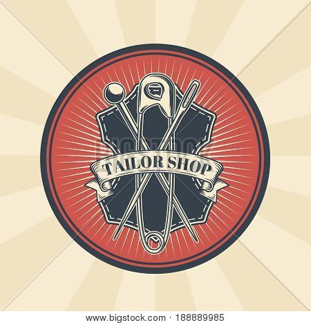 Vector vintage illustration of badge, sticker, sign for tailor s shop with a needle, pin and safety pin are located above the sewed tag. Print, template, design element
