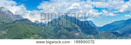 Summer mountain panorama landscape Riva del Garda Italy