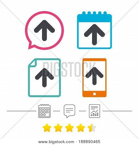 Upload sign icon. Upload button. Load symbol. Calendar, chat speech bubble and report linear icons. Star vote ranking. Vector