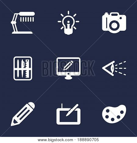 Set Of 9 Constructive Icons Set.Collection Of Artist, Illuminator, Photo And Other Elements.