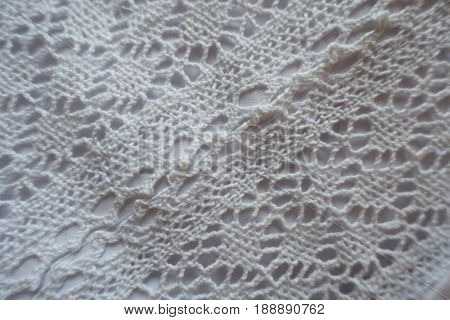 Close Up Of White Diagonal Bobbin Lace