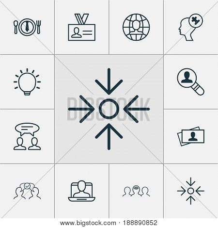 Management Icons Set. Collection Of Great Glimpse, Business Aim, Global Work And Other Elements. Also Includes Symbols Such As Great, Profile, Cooperation.