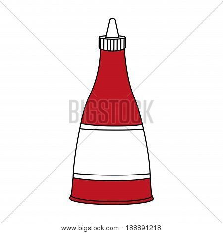 Flat line ketchup sauce over white background. Vector illustration.