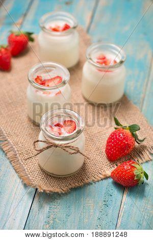 Strawberry Yoghurt. Healthy Food With Strawberries And Yoghurt Breakfast On Table.