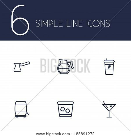Set Of 6 Beverages Outline Icons Set.Collection Of Cappuccino, Wine Cask, Hotdrink And Other Elements.