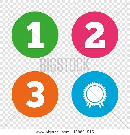 First, second and third place icons. Award medal sign symbol. Round buttons on transparent background. Vector