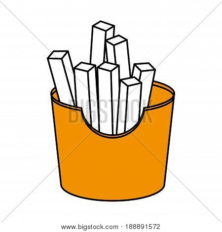 Flat line french fries over white background. Vector illustration.