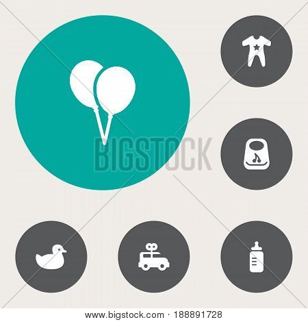 Set Of 6 Baby Icons Set.Collection Of Air Balloon, Breastplate, Bus And Other Elements.