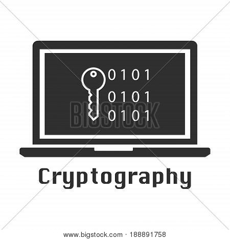 Cryptography black icon. Vector illustration cyber crime online security concept.