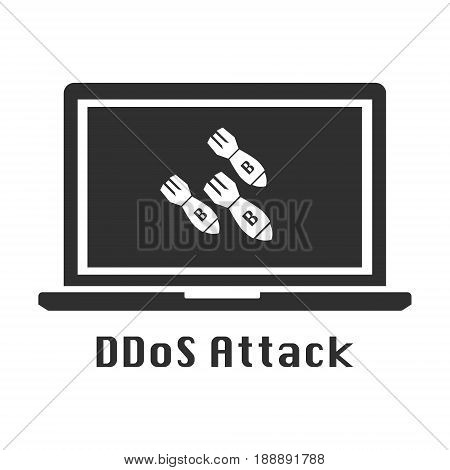 DDoS attack black icon. Vector illustration cyber crime security concept.