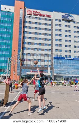 Open Competition On The Asphalt Playground Streetball Among Girls
