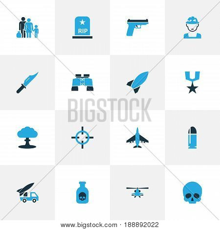 Warfare Colorful Icons Set. Collection Of Grave, Refugee, Knife And Other Elements. Also Includes Symbols Such As Refugee, Destroyer, Rewand.