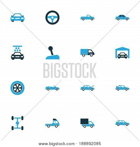 Automobile Colorful Icons Set. Collection Of Sedan, Gear Lever, Tie And Other Elements. Also Includes Symbols Such As Car, Crossover, Pickup.