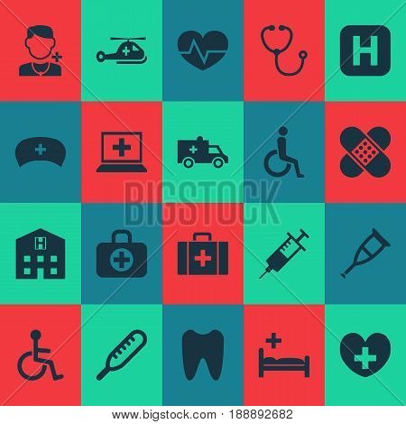 Drug Icons Set. Collection Of Device, Claw, Disabled And Other Elements. Also Includes Symbols Such As Heartbeat, Hospital, Retreat.
