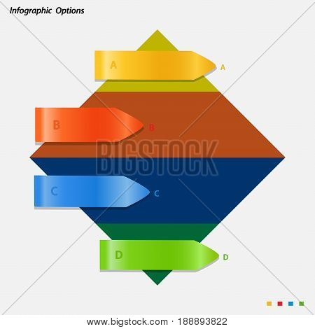 Blank Info Graphic with Multicoloured Arrows Over Rhombus on White