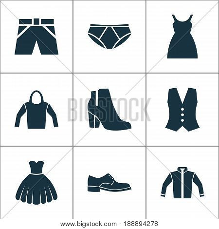 Garment Icons Set. Collection Of Sarafan, Elegance, Trunks Cloth And Other Elements. Also Includes Symbols Such As Cloth, Wear, Underpants.