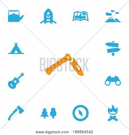 Set Of 13 Picnic Icons Set.Collection Of Jackknife, Tree, Magnet Navigatior And Other Elements.