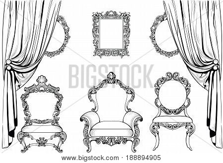 Rich Baroque Rococo furniture and frames set. French Luxury carved ornaments. Vector Victorian exquisite Style decorated frames