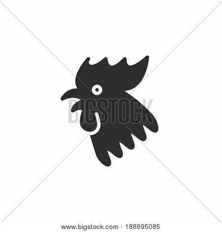 Rooster 2017 Chinese Zodiac Icon Vector, Filled Flat Sign, Solid Pictogram Isolated On White, Logo I