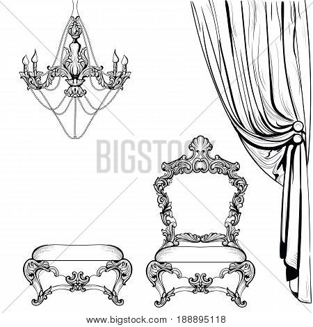 Rich Imperial Baroque furniture and decoration accesories collection armchairs luxurious ornament. Vector French Luxury rich intricate structure. Victorian Royal Style decor