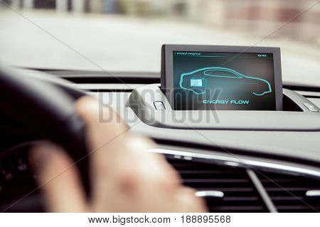 Electronic Car Display With Information About Energy Flow