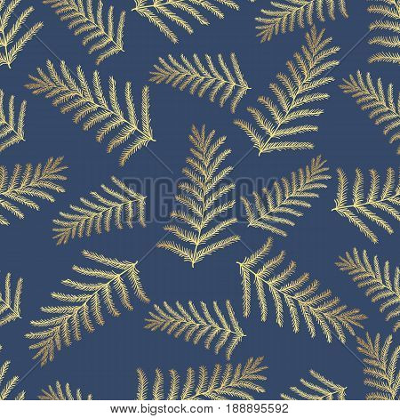 Seamless vector tropical pattern. Tropical gold leaves jungle leaves. Beautiful seamless vector fashionable chic abstract tropical floral pattern background