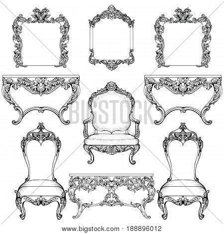 Rich Baroque Rococo armchair and dressing table set. French Luxury carved ornaments furniture. Vector Victorian exquisite Style decorated frames