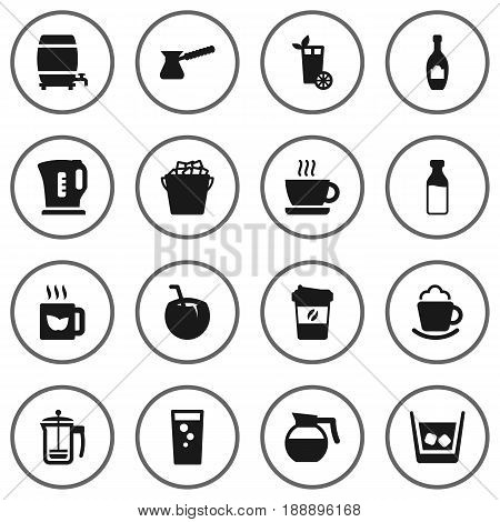 Set Of 16 Beverages Icons Set.Collection Of Cocktail, Cream, Fridge And Other Elements.