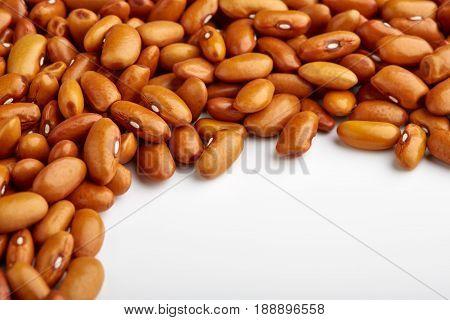 Yellow Kidney Bean Isolated On White Background. Yellow Kidney Bean Texture Background. A Large Bean
