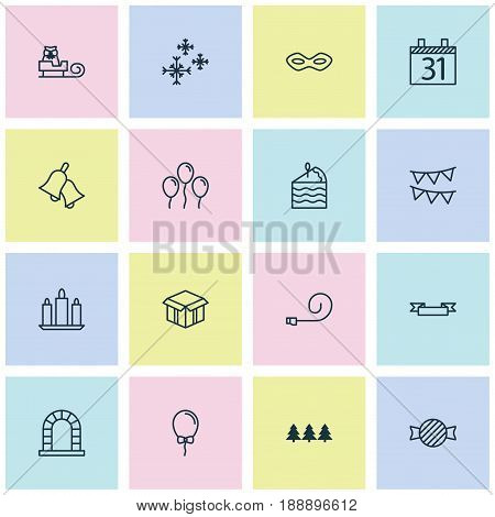 Happy New Year Icons Set. Collection Of Arch, Placard, Wax And Other Elements. Also Includes Symbols Such As Bunting, Carnival, Box.