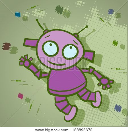 Illustration of a Jolly Robot and Parts Flying