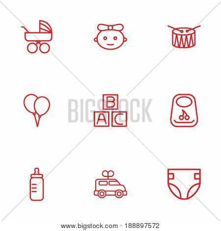 Set Of 9 Kid Outline Icons Set.Collection Of Diaper, Alphabet Cubes, Bib And Other Elements.