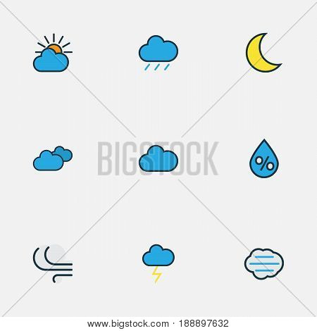 Climate Colorful Outline Icons Set. Collection Of Cloudburst, Raindrop, Cloudy Day And Other Elements. Also Includes Symbols Such As Cloud, Lunar, Overcast.